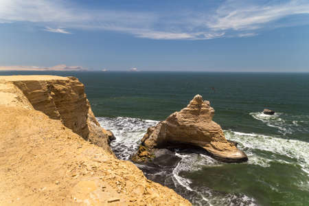 Cathedral rock formation in Paracas national park, Peru