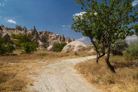 Dirt road through a valley with rock formations in Cappadocia, Turkey