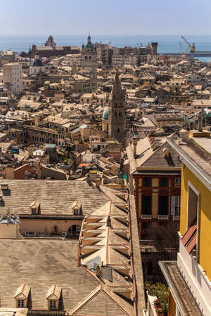 View to a traditional mediterranean city. Genoa, Italy 免版税图像