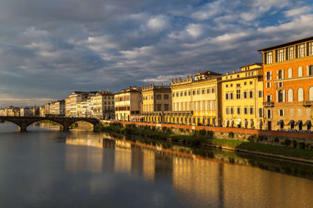 View of the embankment of the river Arno in Florence, Italy 免版税图像