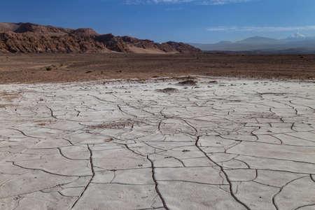 Cracked earth covered with dried salt. Valle de la Luna, Atacama desert, Chile