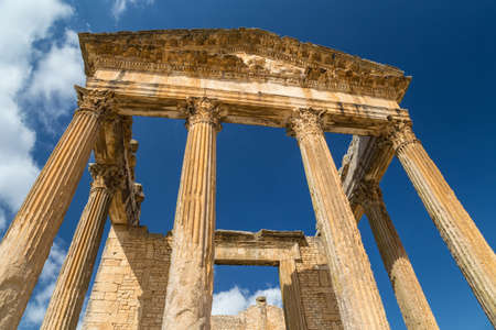 Ruins of Roman temples in Dougga, Tunisia.