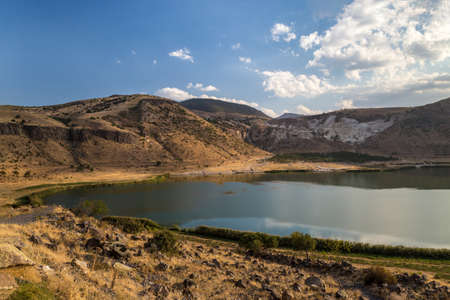 Lake in the crater of an extinct volcano. Acigol lake, Turkey 免版税图像