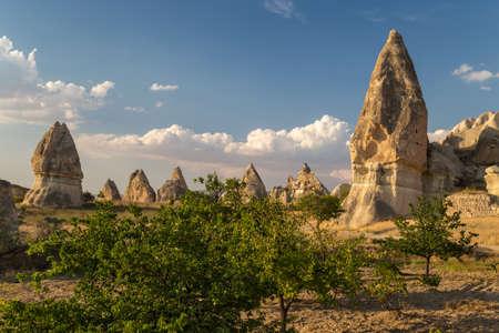 Rock formations called fairy chimneys. Cappadocia, Turkey