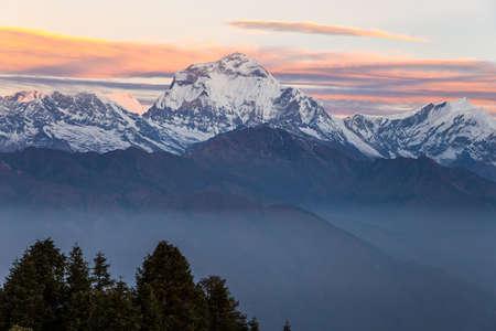 Sunrise in the mountains. Annapurna range, Himalayas, Nepal