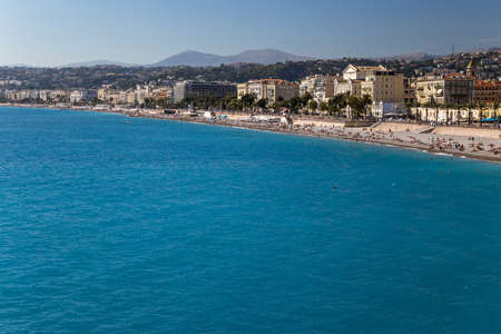 View to a beach and a city. Nice, French Riviera 版權商用圖片