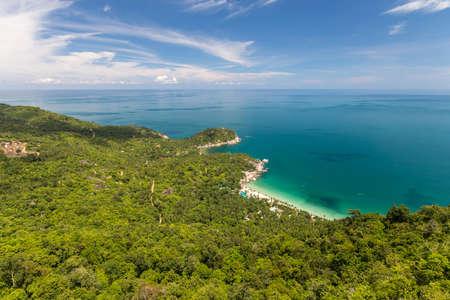 Bird eye view to a tropical beach. Koh Phangan, Thailand