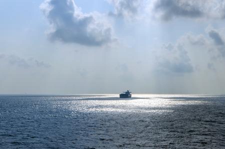 trawler: Anchored trawler Stock Photo