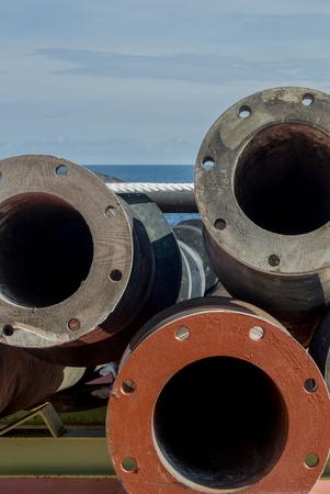 flanges: Metal steel flanges Stock Photo