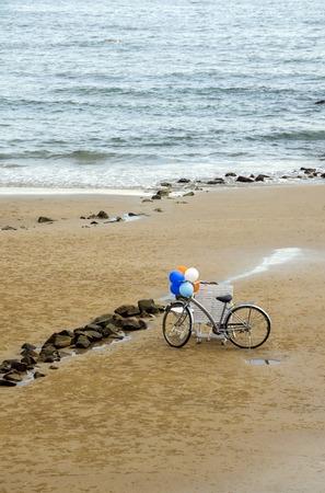 seacoast: Wedding bicycle on seacoast Stock Photo