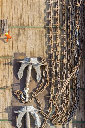 ship deck: Anchor and chain on a ship deck