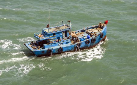 The Asian fishing boat in the high sea