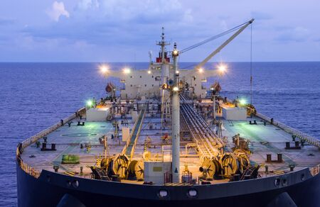 Oil tanker deck with pipeline.