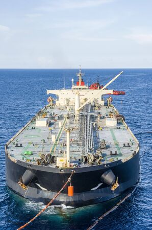 Oil tanker is transferring supply to the oil vessel.