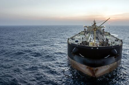 The oil tanker in the high sea Stock Photo