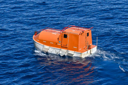 Life boat in the high sea Standard-Bild