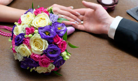 Bridal bouquet of white and pink roses Stock Photo