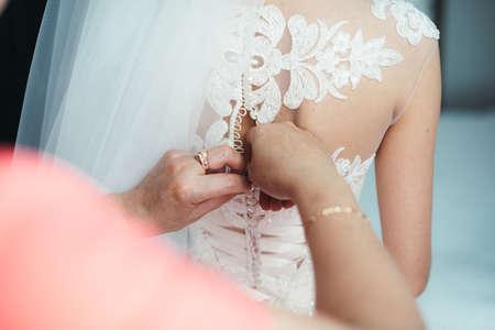 details of beautiful lace wedding dress Stock Photo
