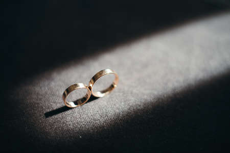 Wedding gold rings in a box Stock Photo