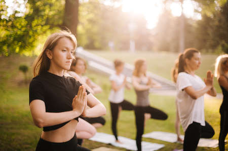 Group of young sporty women are practicing yoga lesson standing in Vrksasana exercise. Girls are balancing on yoga mat on one leg at dawn on Tree pose with namaste gesture Reklamní fotografie