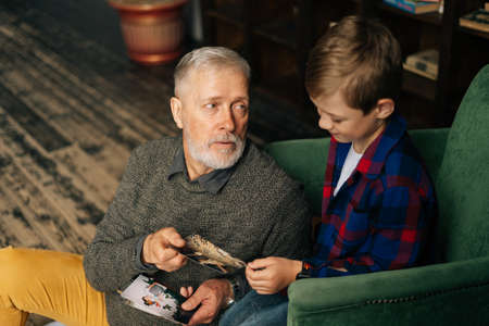 Top view of handsome bearded grandfather showing photo to his grandson, enjoy memories watching family photo album sitting on armchair and floor at home in room with authentic aristocratic interior. Archivio Fotografico