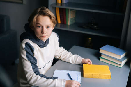 High-angle view of clever pupil boy sitting at desk with paper workbook and preparation to doing homework in children room, looking at camera. Child schoolboy studying at home near window.