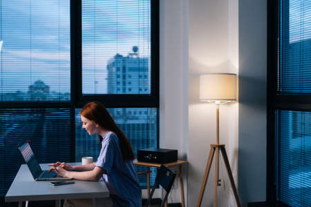 Side view of redhead young woman typing laptop keyboard at evening office. Businesswoman working on laptop in modern studio sitting at desk near window. Blogger surfing internet online from home. Stock Photo