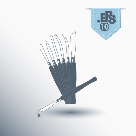scalpels: types of scalpels Illustration