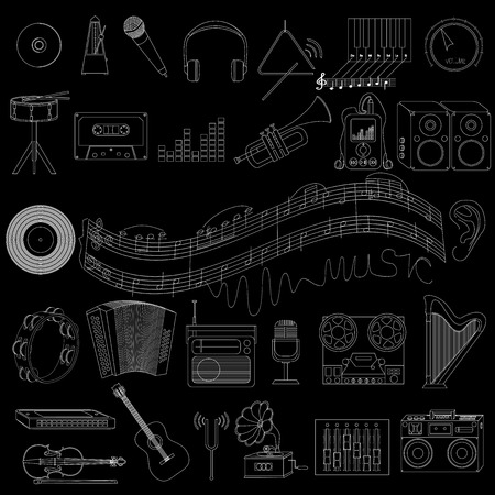 tuning fork: icons on a musical theme