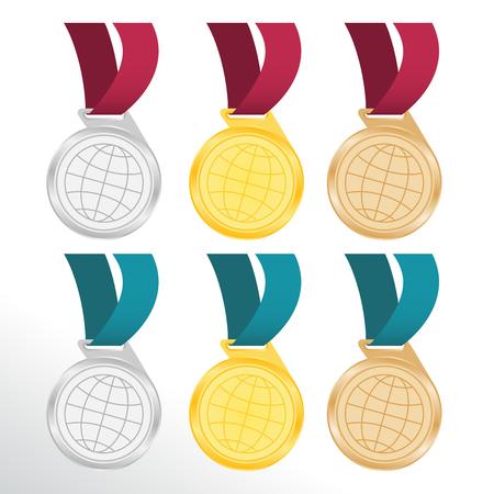 awarding: medals for awarding champions Illustration