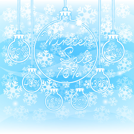 Winter discount of  percent, simple snowflakes on a blue background pattern