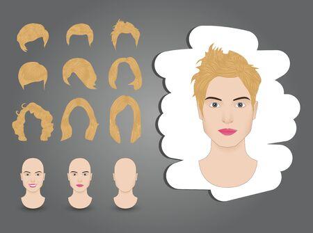 hairstyles for women set blond Illustration