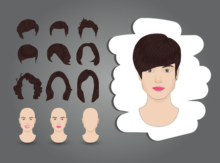 hairstyles for women set brown Illustration