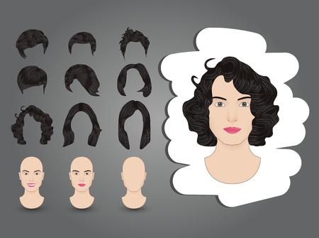 hairstyles for women set brunette Illustration