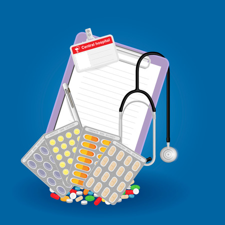 Medical prescription for medication at the pharmacy Illustration