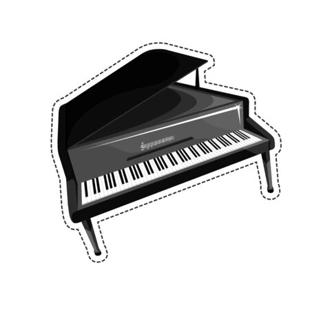 stringed: The piano is an acoustic stringed musical instrument Illustration