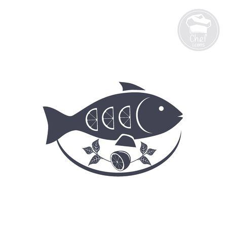Cooked fish dish with lemon Illustration