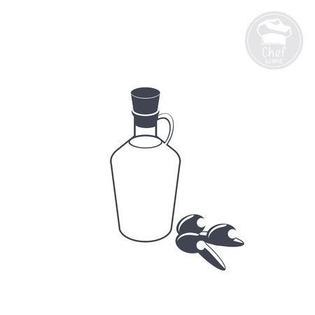 olive oil in a bottle with a handle figured Illustration