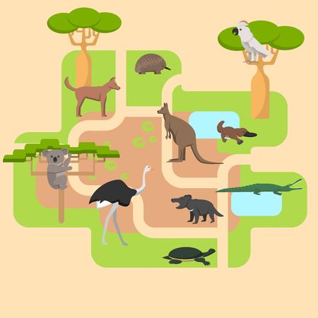 Animales que viven en Australia, un área protegida, un campo de caza, un territorio del zoológico