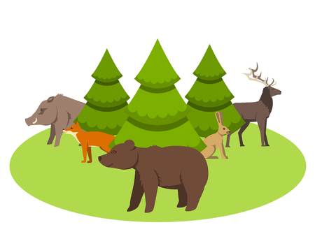 Animals living in Eurasia, a protected area, a hunting ground, a territory of the zoo