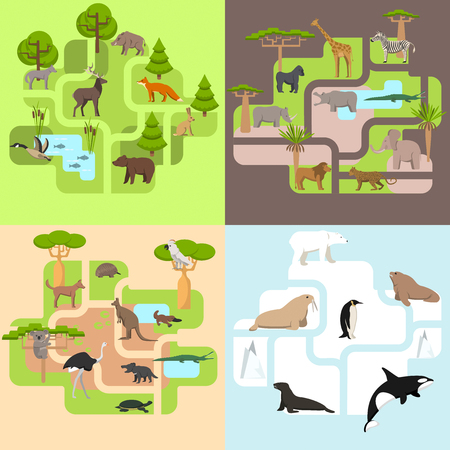 Animals of the world, a protected area, a hunting ground, a territory of the zoo Illustration