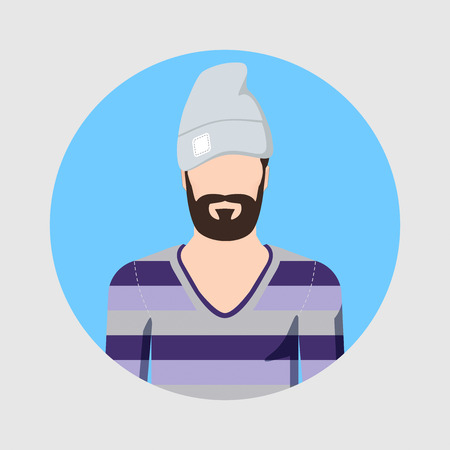 Icon of a homeless man in a hat with a beard