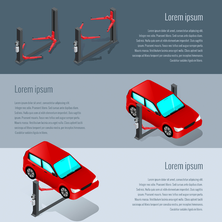 auto repair: Device for raising the car in the workshop, car repair, the list of services Illustration
