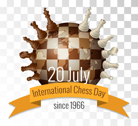 caballo de ajedrez: The International chess day is celebrated annually on July 20, Chess pieces are located on the globe stylized under a chessboard Vectores