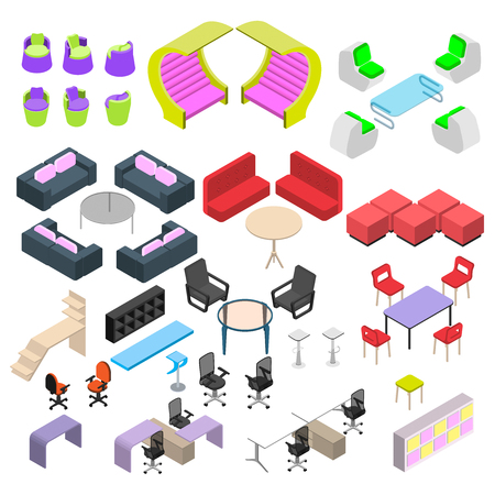 Modern furniture in isometric style, a large set of creative furniture for offices and salons Illustration