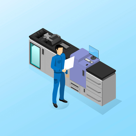 The worker is standing near the machine for digital printing Illustration