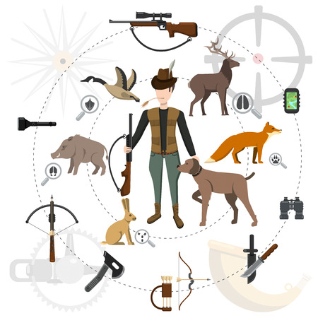 Hunting icon set, animals and hunter with a gun, accessories Illustration
