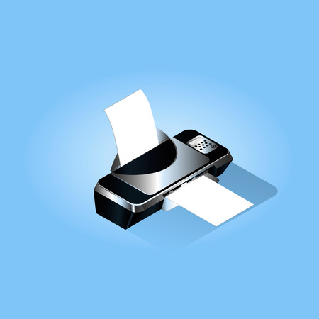 Inkjet printer of black color with a falling shadow on a blue background Illustration