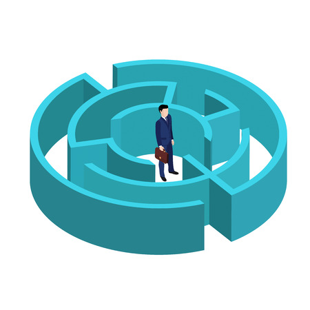 An image in an isometric style, a business man to a suit with a briefcase stands in the middle of the maze, a circular labyrinth Illustration