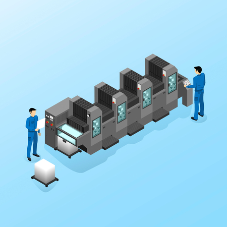 Workers serve the machine for offset printing